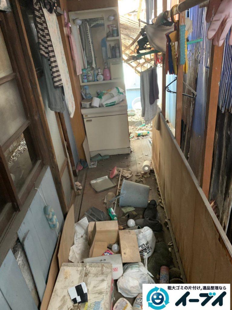 2019年5月11日大阪府東大阪市でベランダとお庭の不用品回収。写真1