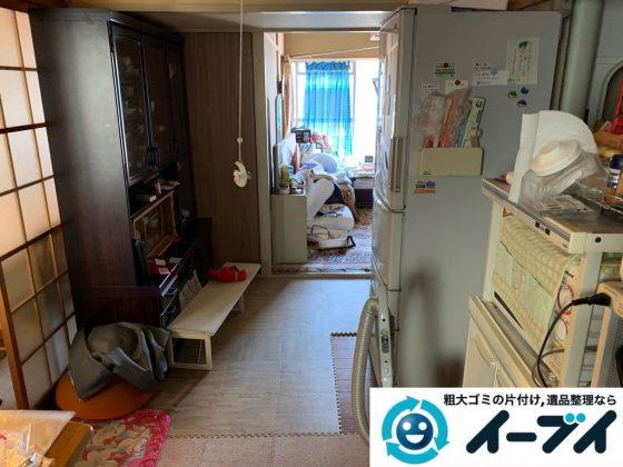 2019年5月21日大阪府大阪市福島区で食器棚も大型家具、冷蔵庫の大型家電などの不用品回収。写真1