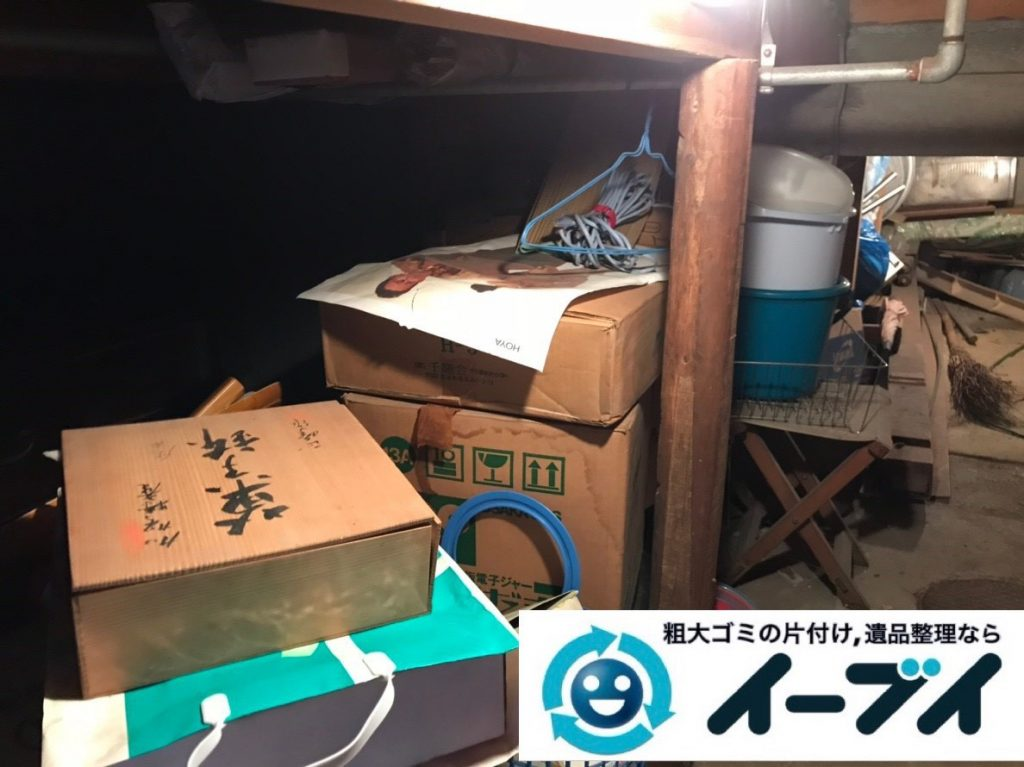 2019年7月4日大阪府大阪市東住吉区でお家の地下倉庫の不用品回収。写真1