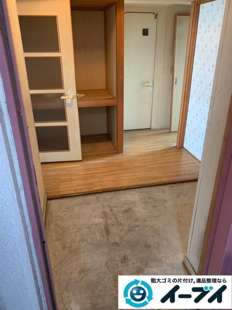 2019年10月15日大阪府守口市でタンスや本棚の家具処分、電子レンジやトースターの家電処分の不用品回収。写真2