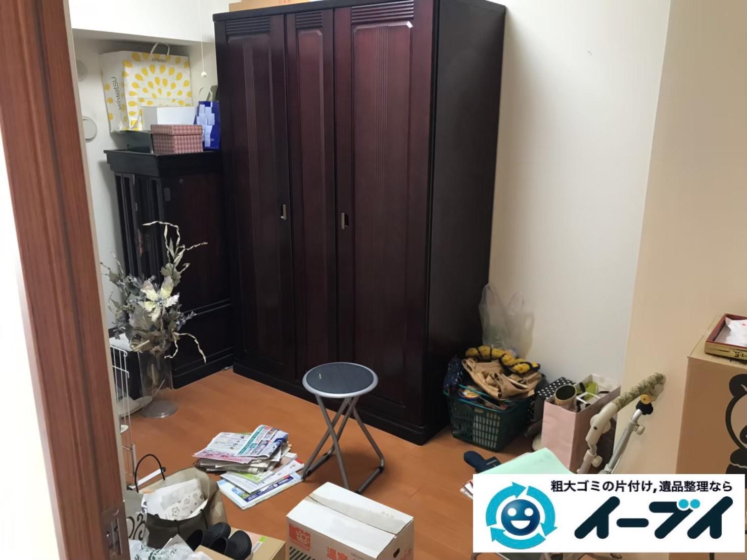 2019年9月18日大阪府大阪市西成区で和箪笥の大型家具の不用品回収。写真1