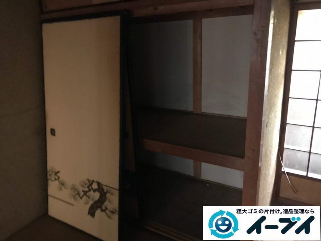 2019年11月21日大阪府大阪市北区で引越しに伴い、椅子やベッドなどの引越しゴミの不用品回収。写真4