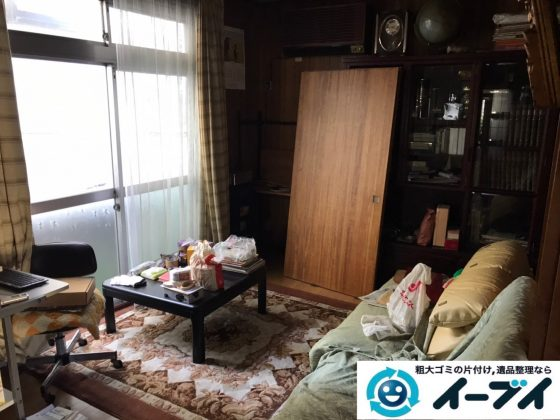2019年12月23日大阪府羽曳野市で食器棚の大型家具、冷蔵庫の大型家電などの不用品回収。写真