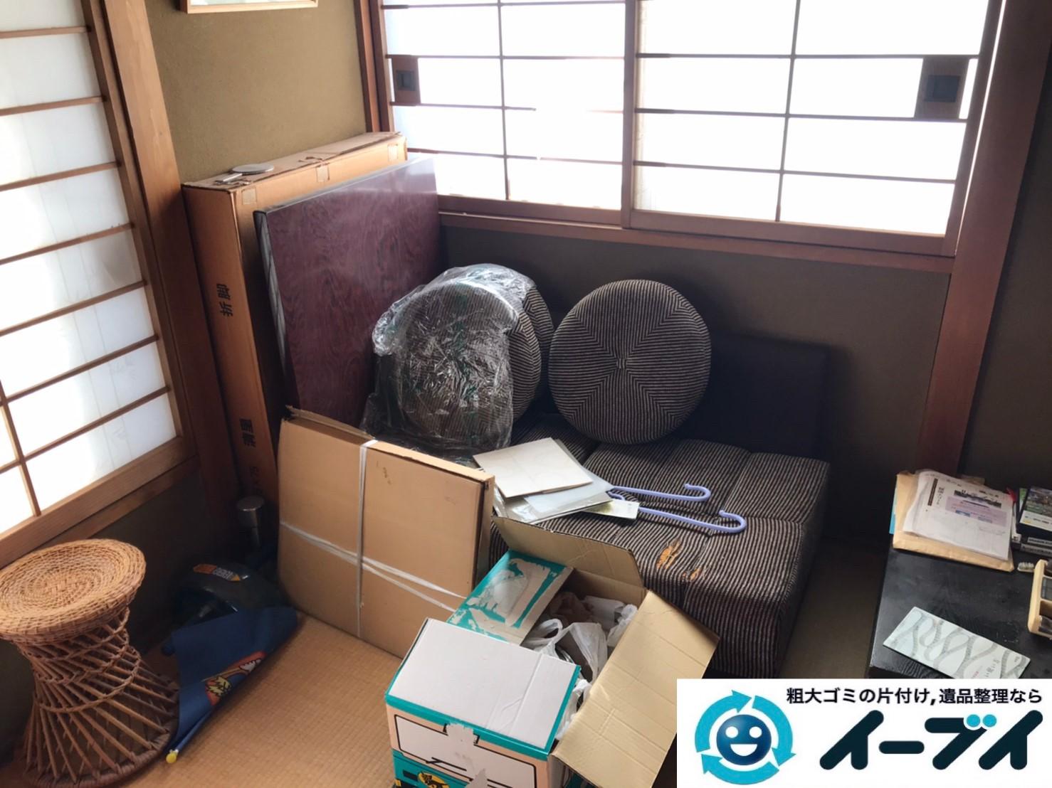 2019年12月27日大阪府豊中市で退去に伴い、ソファ、テーブルなど粗大ゴミの不用品回収。写真1