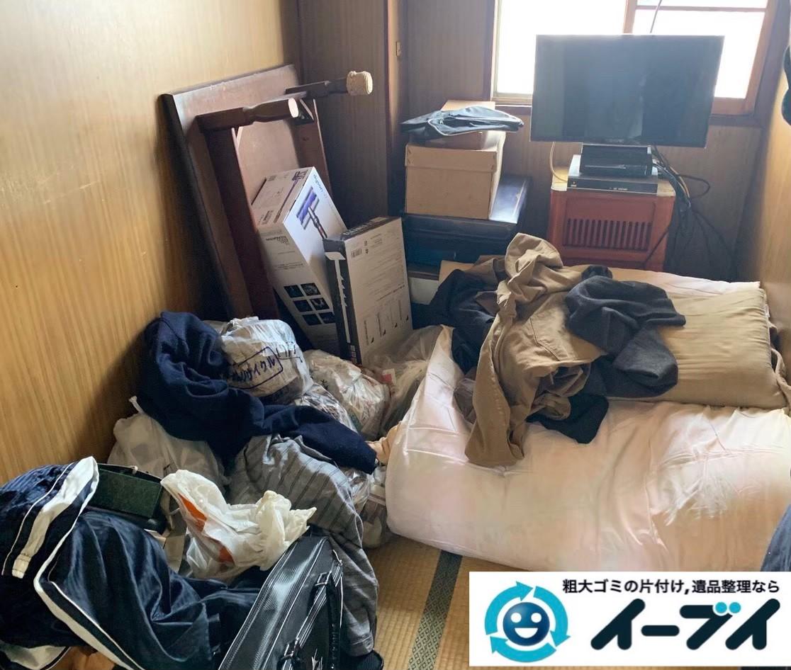 2020年3月23日大阪府大阪市東住吉区でベッドやテーブルの家具処分、テレビの家電処分の不用品回収作業。写真3