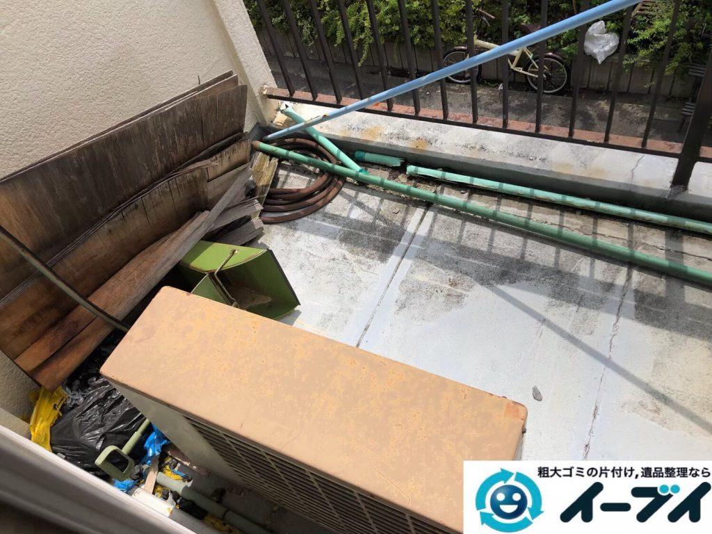 2020年4月30日大阪府大阪市東住吉区でベランダの不用品回収。写真2