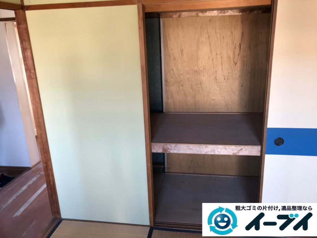 2020年5月29日大阪府大阪市鶴見区で食器棚の大型家具、冷蔵庫の大型家電などの不用品回収。写真2