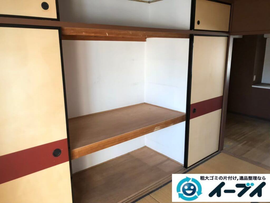 2020年10月1日大阪府堺市堺区で遺品整理に伴い、婚礼家具の大型家具などお家の家財道具を一式処分させていただきました。写真1