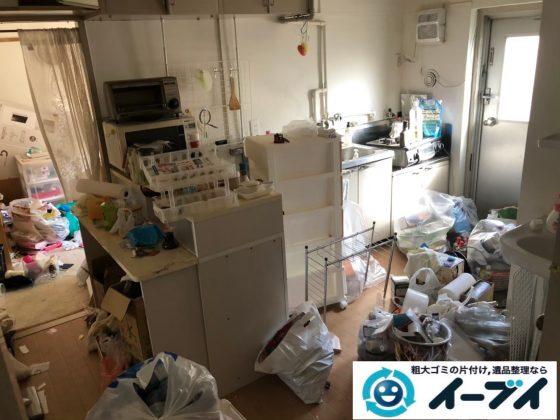 2020年9月24日大阪府岬町で家具や家電の粗大ゴミ処分、生活ゴミや食品ゴミが散乱しゴミ屋敷化した汚部屋の片付け作業です。写真1